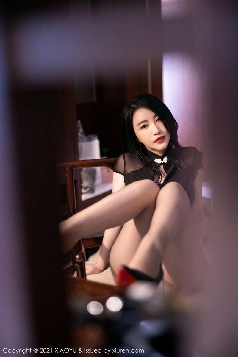 [XIAOYU语画界] 2021.02.25 No.476 绯月樱-Cherry 黑色典雅旗袍 [53+1P] -第3张